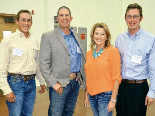 Courtesy Photo   Richard Rush, at right, of Melrose, NM, receives the New Mexico Cattle Growers' Association (NMCGA) Young Cattlemen's Leadership Committee (YCLC) Scholarship from YCLC members Kendal Wilson, Seth Hyatt and Crystal Diamond.
