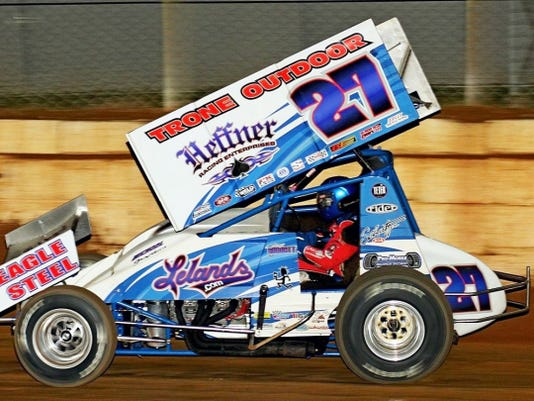 Greg Hodnett races to victory in the Living Legends Dream Race for 410 Sprint cars at Port Royal Speedway on Saturday night.