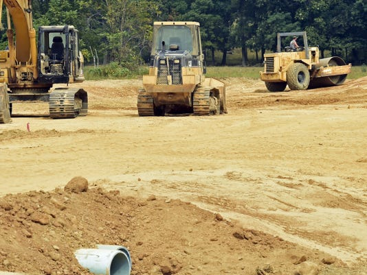 Construction work continues Tuesday at the Bear Valley Joint Authority's water treatment plant off Brooklyn Road, Fort Loudon.