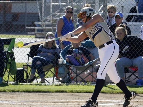 Mackenzie Mahajan takes a swing for Elmira Notre Dame