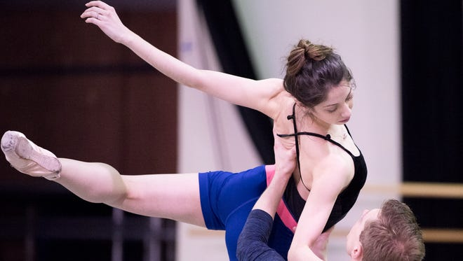 """Cincinnati Ballet dancers James Cunningham and Christina LaForgia Morse rehearse choreographer Kate Weare's new ballet, """"Show Yourself to Me,"""" created as part of the company's """"Bold Moves"""" concerts being performed April 26-29 at the Aronoff Center."""