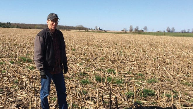 Ralph Smrecek Jr. checks for favorable field conditions to no-till into a corn field.