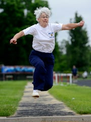 Harriet Kaufman of Freeman competes at the 2014 South Dakota Senior Games at Lincoln High School in Sioux Falls. She is still active at age 78.