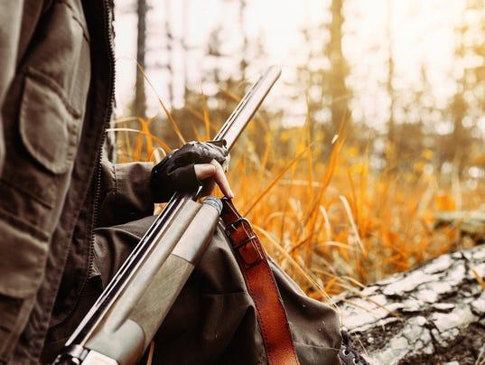 Hunter with gun stock photo