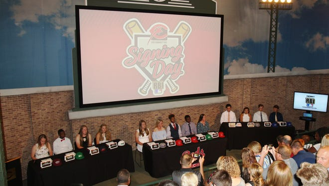 The second annual P&G Cincinnati MLB Reds Youth Academy Signing Day was held on Wednesday, June 6, 2018, at the Reds Hall of Fame & Museum. There were 13 student-athletes in attendance who signed letters of intent to continue their baseball and softball careers in college.