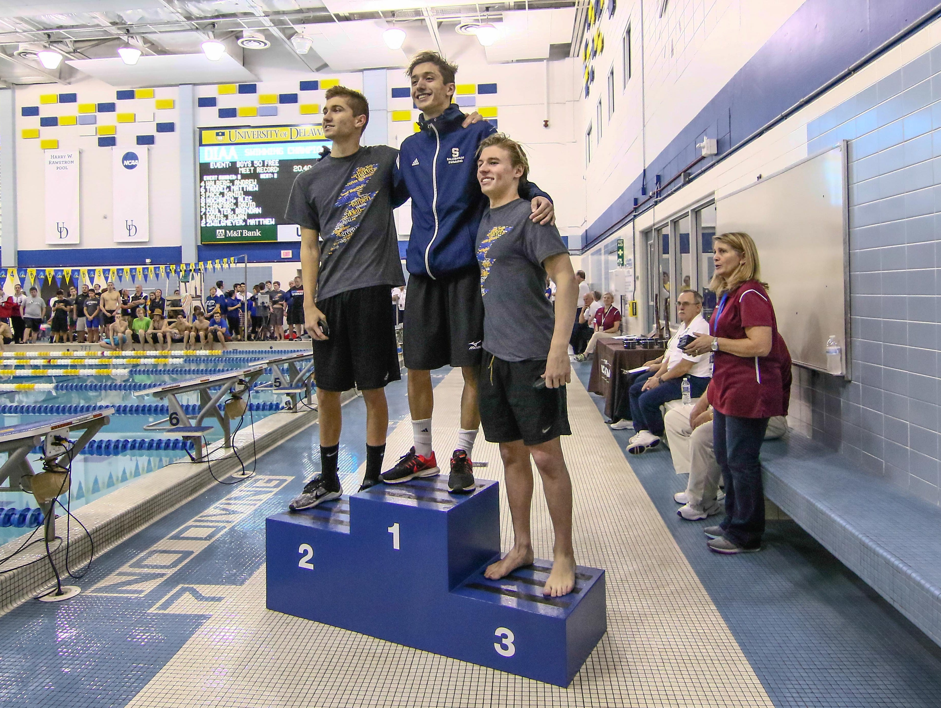 Salesianum Andrew Halberg win first place in the 50-Yard Freestyle during the boys swimming and diving state tournament Saturday, Feb. 25, 2017, at Rawstrom Natatorium, Carpenter Sports Building in Newark.