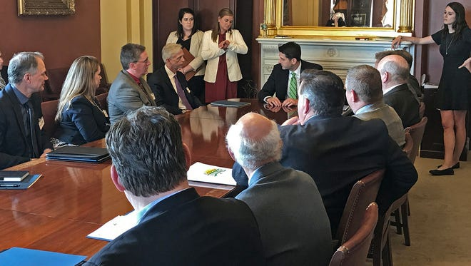 House Speaker Paul Ryan (center) meets with dairy industry executives during the fly-in event on Capitol Hill.