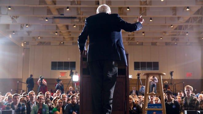 Sen. Bernie Sanders at a campaign rally in Rochester, Minn., Saturday.