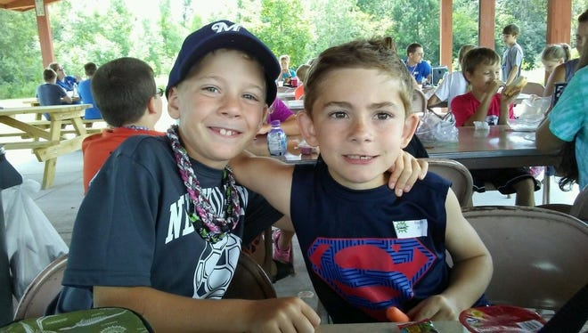 Parker Manderscheid and Declan Solomita enjoy Immauel-Trinity's Vacation Bible School in 2017.