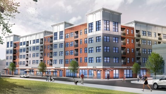 An architectural rendering of The Brook, a new 64-unit apartment building, under construction on West Main Street in Bound Brook.