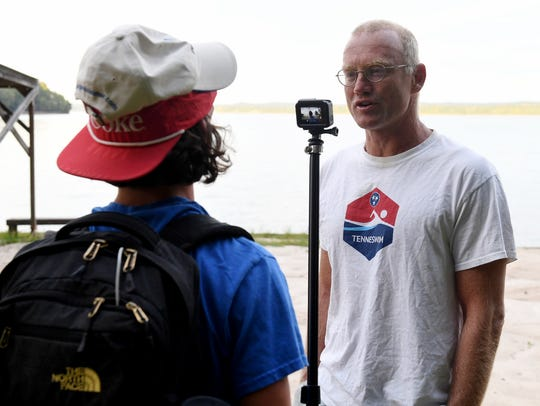 Fayette Academy student Walt Bullwinkel interviews