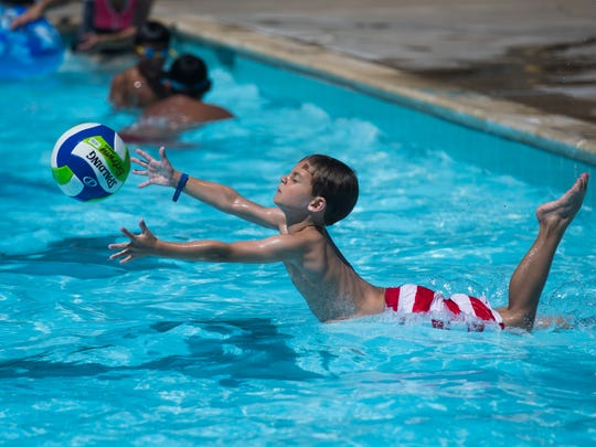 People enjoy the water during the 3rd anniversary of Parker Pool party on Monday, May 28, 2018 in Flour Bluff.