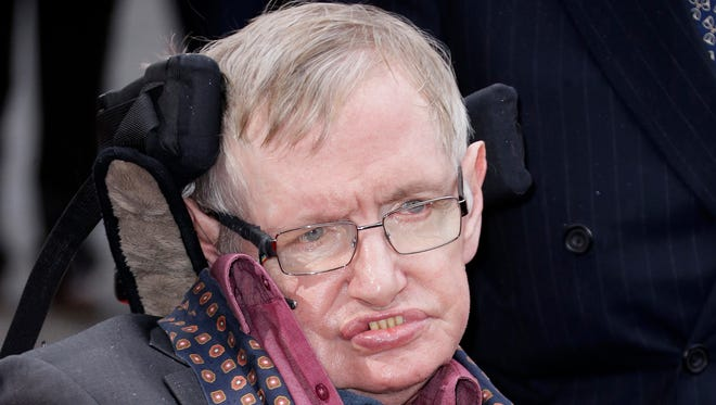 In this 2015, file photo, Professor Stephen Hawking arrives for the Interstellar Live show at the Royal Albert Hall in central London. Hawking died in March 2018 at the age of 76.