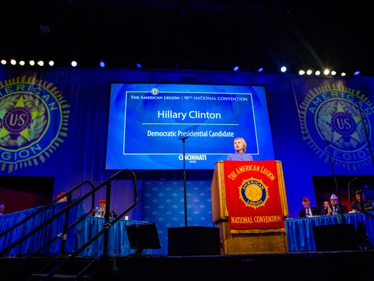 Hillary Clinton addresses the American Legion at its national convention Wednesday at Duke Energy Convention Center in Cincinnati.