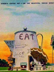 A vintage postcard of Sisson's Coffee Pot on U.S. 1