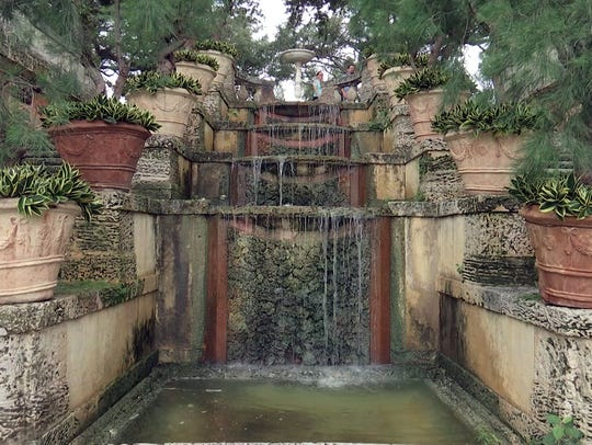 A waterfall is one of many architectural features in
