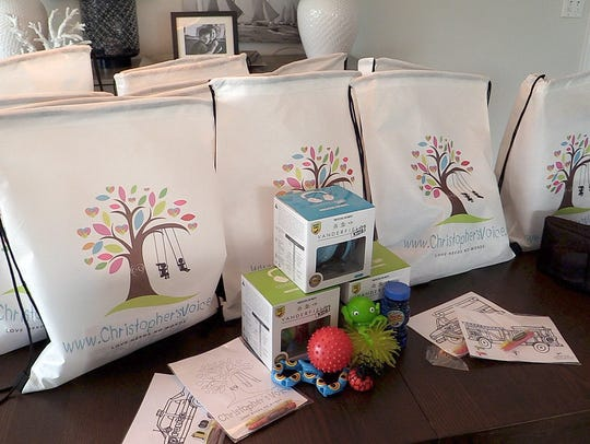 Bags filled with items specifically for people with
