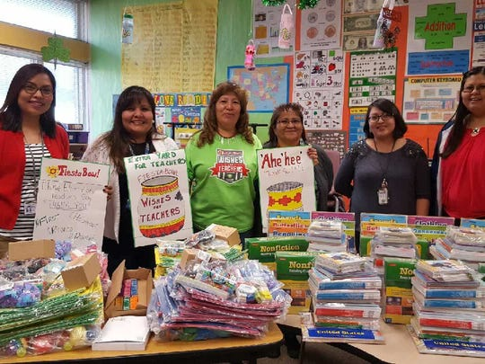 Helen First used her grant money to purchase books, backpacks and trinkets for the first- and second-grade classrooms at Chinle Elementary School.