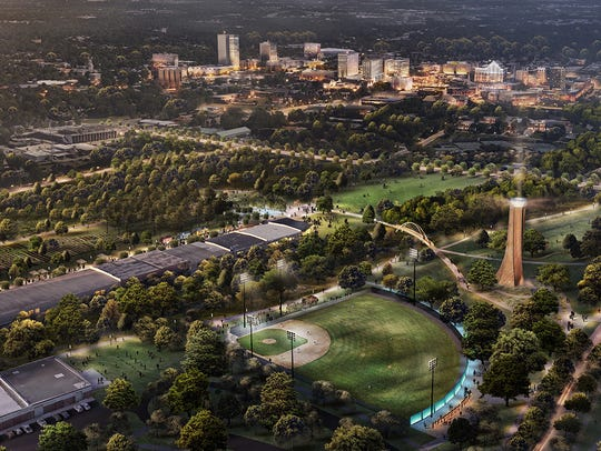 A bird's-eye view of Unity Park in Greenville.