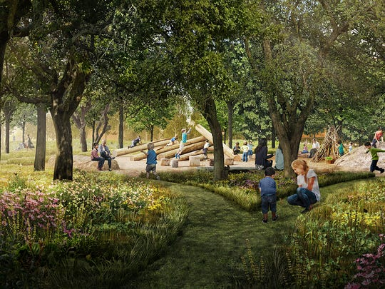 A natural play area in Unity Park.