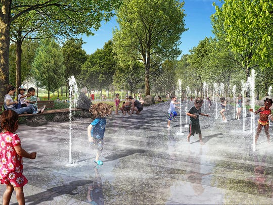 "An expansive children's ""sprayground"" in Unity Park."