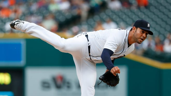 Tigers pitcher Anibal Sanchez throws during the first inning Wednesday at Comerica Park.