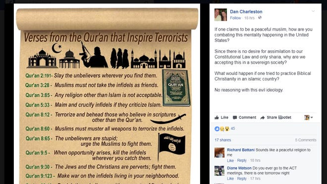 Polk County Sheriff's Sgt. Dan Charleston is under investigation for this offensive Facebook post from June 2017.