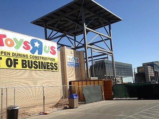 The Toys 'R' Us store is going out of business in the Eastgate Shopping Center, now being reconstructed, including the addition of a new Sprouts Farmers Market store.