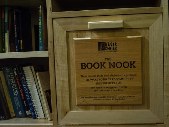 Sign welcomes students to the Book Nook.