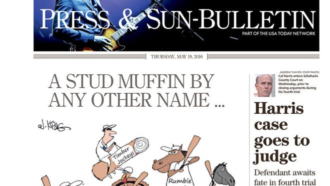 Today's front page of the Binghamton Press & Sun-Bulletin