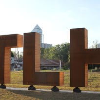 TLH letters installed next to Cascades Park