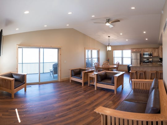 The interior of a cabin at the Wilds' new Straker Lake Cabins.