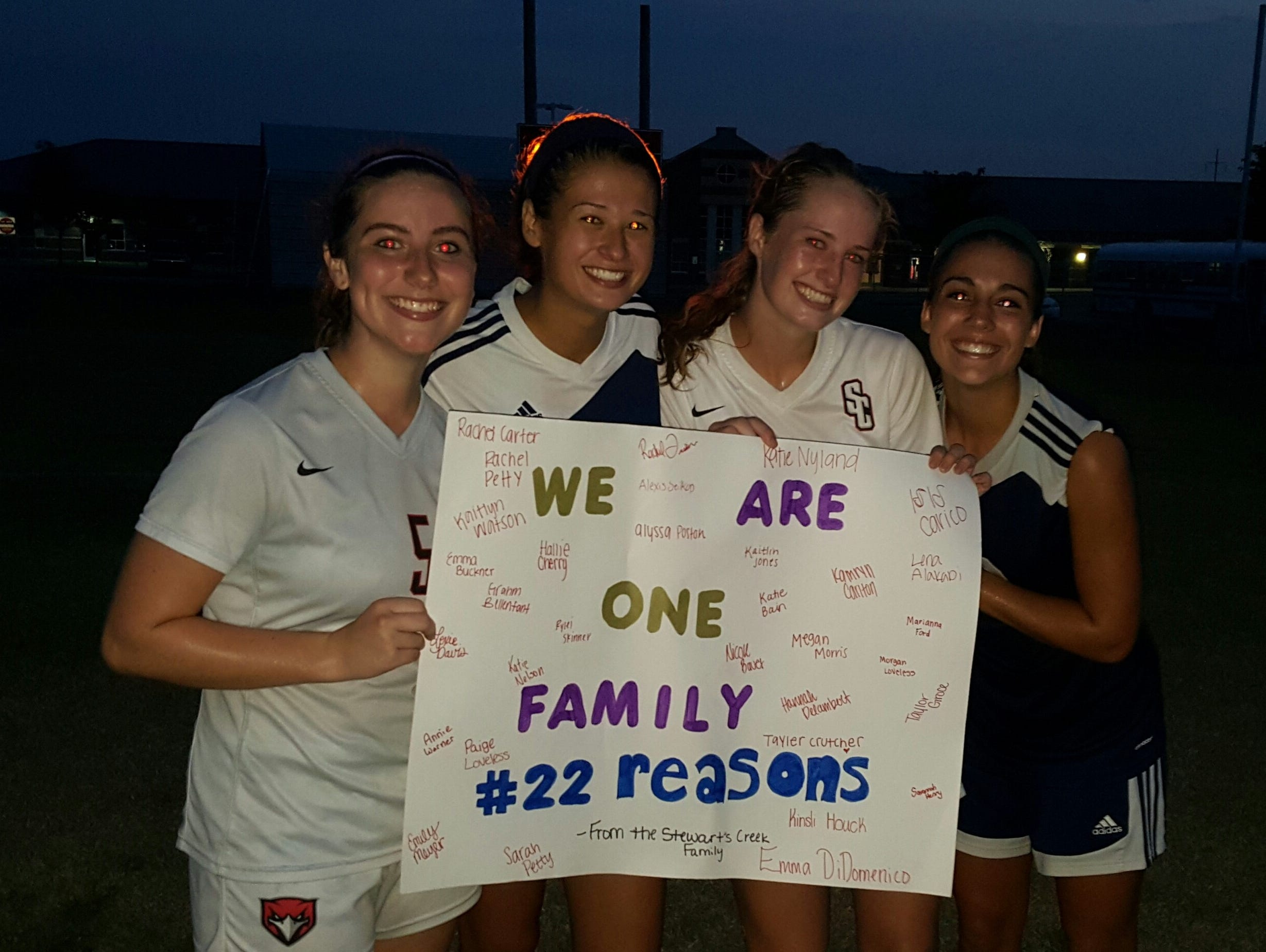 Gate proceeds from the Siegel-Stewarts Creek soccer game at Creek went to the family of Mason Loupe. Standing, from left, are Stewarts Creek's Emma DiDomenico, Siegel's Taylor Ryan, Stewarts Creek's Katie Nyland and Siegel's Madison Louk.
