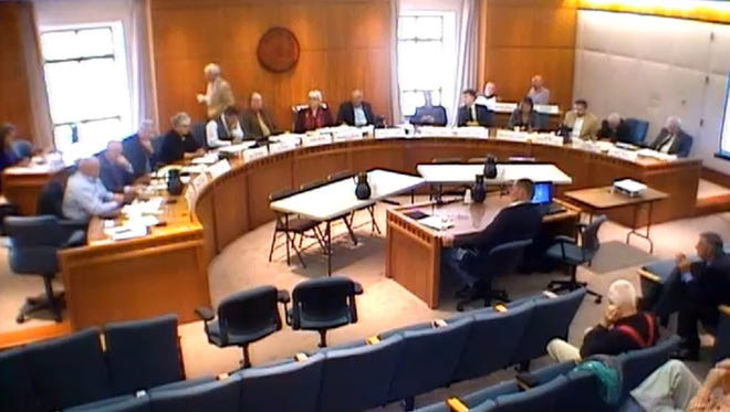 Carlsbad Mayor Dale Janway and Jim Griswold, senior hydrologist with the Oil Conservation Division, testify before the New Mexico Hazardous Waste and Materials Committee Oct. 31 in Santa Fe.