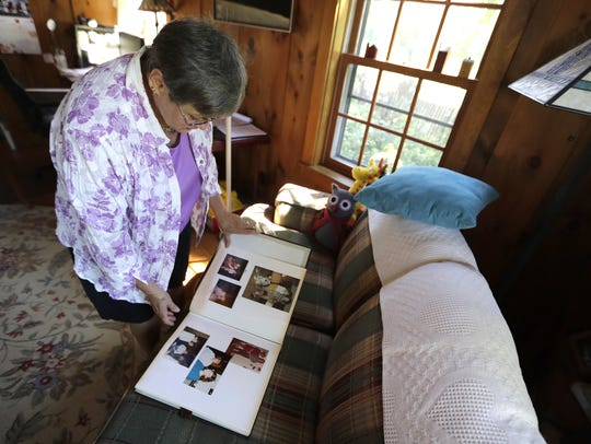 Mary Wegner, Laurie Depies' mother, looks through a