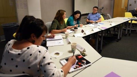 University of Southern Mississippi faculty members take part in a 90-minute meeting to talk about lessons they are learning to help them become better teachers.