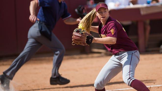 March 2 - ASU third baseman Haley Steele fields a Minnesota bunt during the 2nd inning.