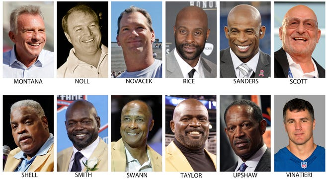 FILE - These are file photos showing members of the Super Bowl 50 Golden Team, selected Thursday, Jan. 28, 2016. From top left are Joe Montana, Chuck Noll, Jay Novacek, Jerry Rice, Deion Sanders, Jake Scott, Art Shell, Emmitt Smith, Lynn Swann, Lawrence Taylor, Gene Upshaw and Adam Vinatieri. (AP Photo/File)