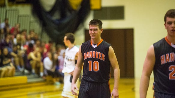 Hanover's Kyle Krout smiles after successfully making
