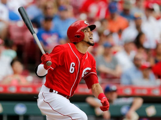 Cincinnati Reds center fielder Billy Hamilton (6) watches as he flies out to right field in the bottom of the seventh inning of the MLB National League game between the Cincinnati Reds and the New York Mets at Great American Ball Park in downtown Cincinnati on Wednesday, May 9, 2018. The Reds won 2-1 on a 10th inning walk off home run by Adam Duvall.