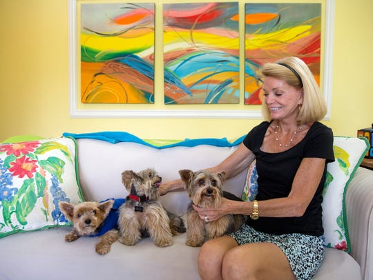 Louise Friedlander sits with her three Yorkshire terriers
