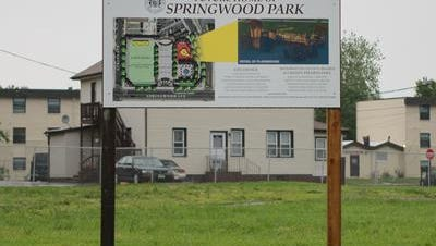 A billboard featuring the plans for a future home of Springwood Park at Springwood and Atkins Avenue in Asbury Park, across from the Senior Center.