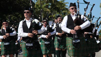 The Fort Myers Beach St. Patrick's Day Parade features bagpipers.