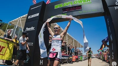 Liz Lyles of Reno will attempt to defend her title at the Wildflower Triathlon April 30-May 1 in Bradley, Calif.