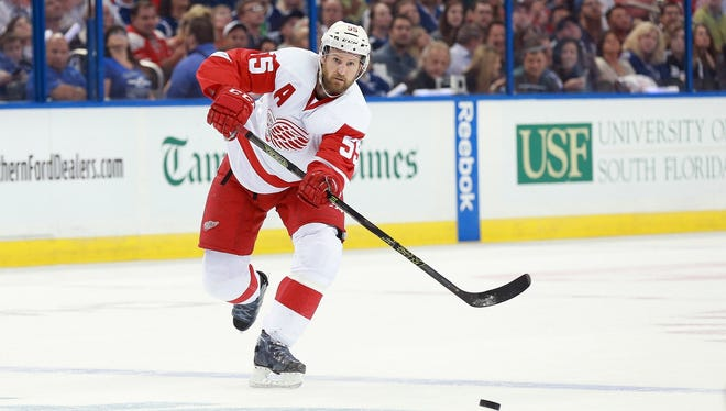 Detroit Red Wings defenseman Niklas Kronwall passes the puck against the Tampa Bay Lightning on April 15, 2016.