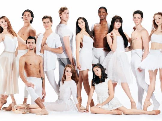 Members of Cincinnati Ballet's second company posed for a formal portrait last November. They are (from left, standing) Yu-Ting Huang, John Michael Donley, Daniel Baldwin, Jameson Keating, Zoe Donnenfield, Derek Brockington, Sarah Bradley, Ethan Kimbrell and Samantha Riester. In front are (from left) Jonathan Carter, Maggie Carey and Megumi Nishimori.