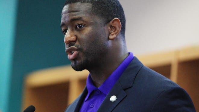 Tallahassee Mayor Andrew Gillum expresses support for both the Rickards clinic and the community school project during a Wednesday meeting.