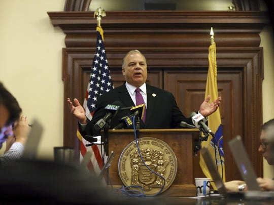 Senate President Stephen Sweeney, D-Gloucester, and other Senate Democrats outlined their economic agenda for 2016 at the Statehouse in December.