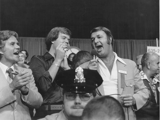 "Chet Coppock and Bobby ""Slick"" Leonard sang during the 1977 Save the Pacers telethon."
