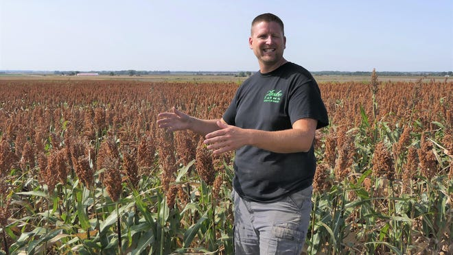 Jed Fleske stands in his milo field at Fleske Farms in Larned.